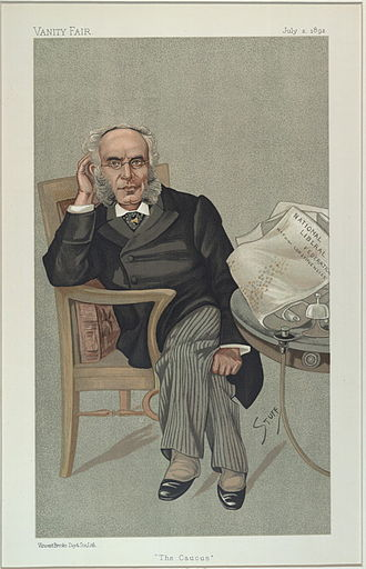 "National Liberal Federation - ""The Caucus"": 1892 caricature of Francis Schnadhorst, Secretary of the National Liberal Federation 1877–93, published in Vanity Fair"