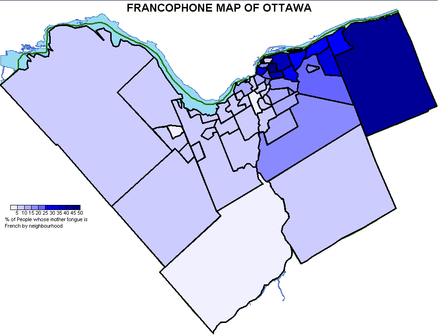 Distribution map from the 2001 census showcasing the percentage of individuals whose mother tongue is French. Francoottawa.PNG