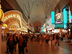 Fremont Street - The Golden Nugget and Binion's Gambling Hall & Hotel casinos at night