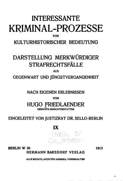 File:Friedlaender-Interessante Kriminal-Prozesse-Band 9 (1913).djvu