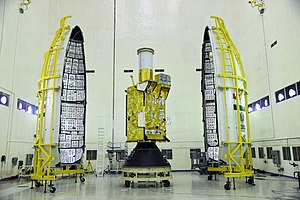 GISAT-1 spacecraft in the cleanroom before encapsulation.jpg