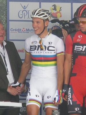 Rainbow jersey - The 2012 world road race champion Philippe Gilbert wearing the rainbow jersey.