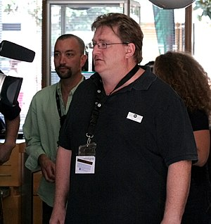 Valve Corporation - Gabe Newell (foreground) and Doug Lombardi (background), 2007