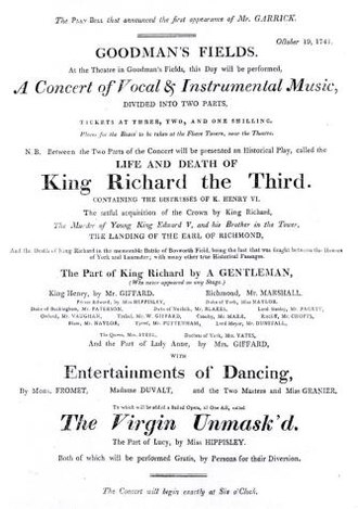 William Paget (actor) - Facsimile of Playbill (c.1800) from Garrick's debut as Richard III, Paget playing Lord Stanley