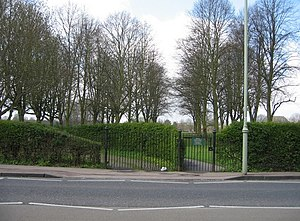 Queen's Road, Cambridge - Gate onto St John's College playing fields from Queen's Road.