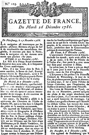 History of journalism - La Gazette, 26 December 1786