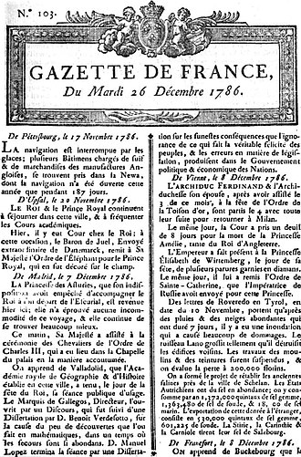 Magazine - La Gazette, 26 December 1786