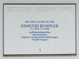 Edmund Rumpler - Memorial plaque in Berlin