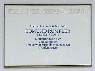 Edmund Rumpler - Memorial plaque in Berlin