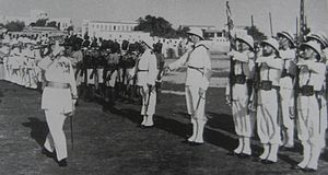 French Somaliland in World War II - Legentilhomme reviewing troops, c. 1939