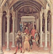 Pilgrims at the tomb of Saint Nicholas in Bari (Gentile da Fabriano, c. 1425, National Gallery of Art, Washington, D.C.).