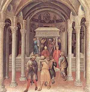 Basilica di San Nicola - Pilgrims at the tomb of Saint Nicholas in Bari (Gentile da Fabriano, c. 1425, National Gallery of Art, Washington, D.C.).