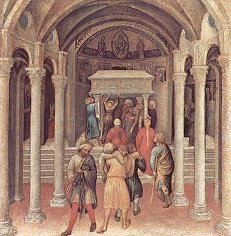 Basilica di San Nicola - Pilgrims at the tomb of Saint Nicholas in Bari (Gentile da Fabriano, c. 1425, National Gallery of Art, Washington, D.C.).