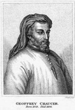 A 19th century depiction of  Chaucer.  For three near-contemporary portraits of Chaucer see here.