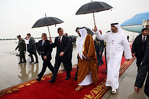Khalifa bin Zayed Al Nahyan - Khalifa and U.S. President George W. Bush at Abu Dhabi International Airport, 13 January 2008