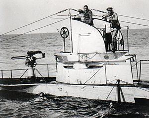 SM U-27 (Germany) - Image: German U Boat U27 Sunk 19 August 1915 with crew