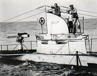 SM U-27 (Germany) - Image: German U Boat U27 Sunk 19 August 1915 with crew