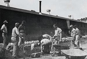 New Mexico during World War II - German internees working in their garden at Fort Stanton.