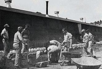 New Mexico during World War II - German internees working in their garden at Fort Stanton.