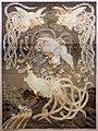 Giappone, pannello in seta con uccelli del paradiso, xix secolo, 01.jpg