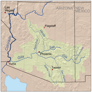 Agua Fria River - Map of the Gila River watershed including the Agua Fria river