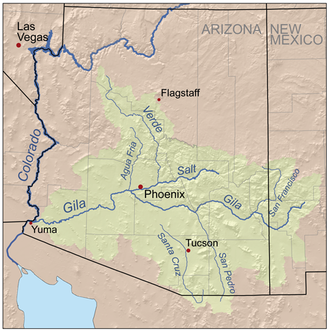 San Francisco River - Map of the Gila River watershed including the San Francisco river
