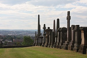 English: Glasgow Necropolis; view of the city ...