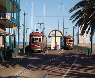 TransAdelaide - Double set and single H-class trams at the Moseley Square terminus, Glenelg in May 2005 before the square and tram fleet were upgraded