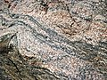Gneiss (Archean; Windy Lake Northwest roadcut, Sudbury Impact Structure, Ontario, Canada) 1 (32792412377).jpg