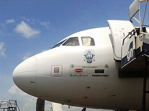 Wadia Group - Group company logos displayed on the nose of a GoAir plane