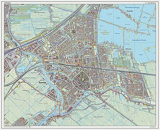 Gouda, South Holland - Dutch Topographic map of Gouda (city), Sept. 2014