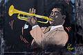 Graffiti in Shoreditch, London - Trumpet player by El Gal Mao (9444334907).jpg