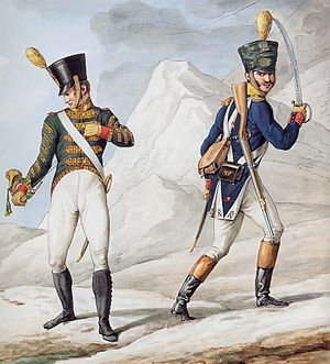 Voltigeur - Cornet in imperial livery and officer of the Line voltigeurs (1812)