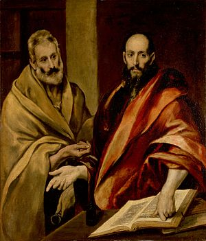 Feast of Saints Peter and Paul - Saint Peter and Saint Paul. Oil on canvas by El Greco. circa 16th-century. Hermitage Museum, Russia
