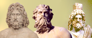 Zeus, Poseidon and Hades -- gods of heavens, s...