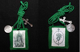 Green Scapular - The Green Scapular with a small medal of Saint Benedict.