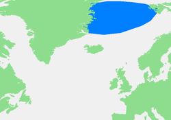 Carte de la mer du Groenland.