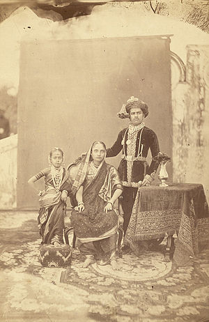 Sayajirao Gaekwad III - Group portrait with sister Tara Bai and adoptive mother Jamna Bai (Circa 1880)