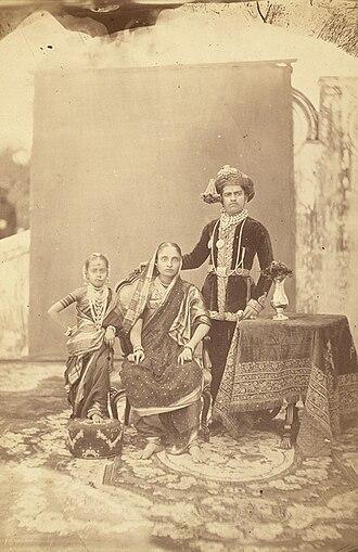 Sayajirao Gaekwad III - Group portrait with sister Tara Bai and adoptive mother Jamna Bai (Circa 1880)