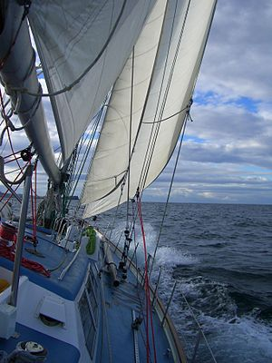 Gordonstoun - Gordonstoun School's yacht: The Ocean Spirit of Moray under sail in the Irish Sea