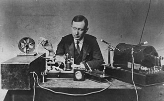 Marconi transmitting the first radio signal across the Atlantic. Guglielmo Marconi 1901 wireless signal.jpg