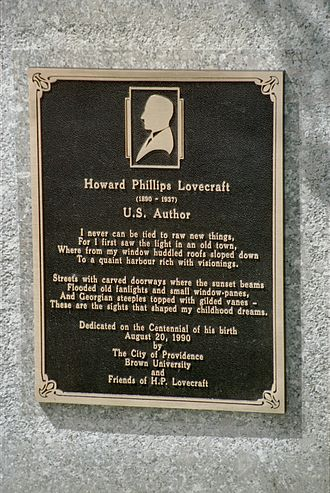 H. P. Lovecraft memorial plaque at 22 Prospect Street in Providence. H. P. Lovecraft Memorial Plaque at 22 Prospect Street.jpg