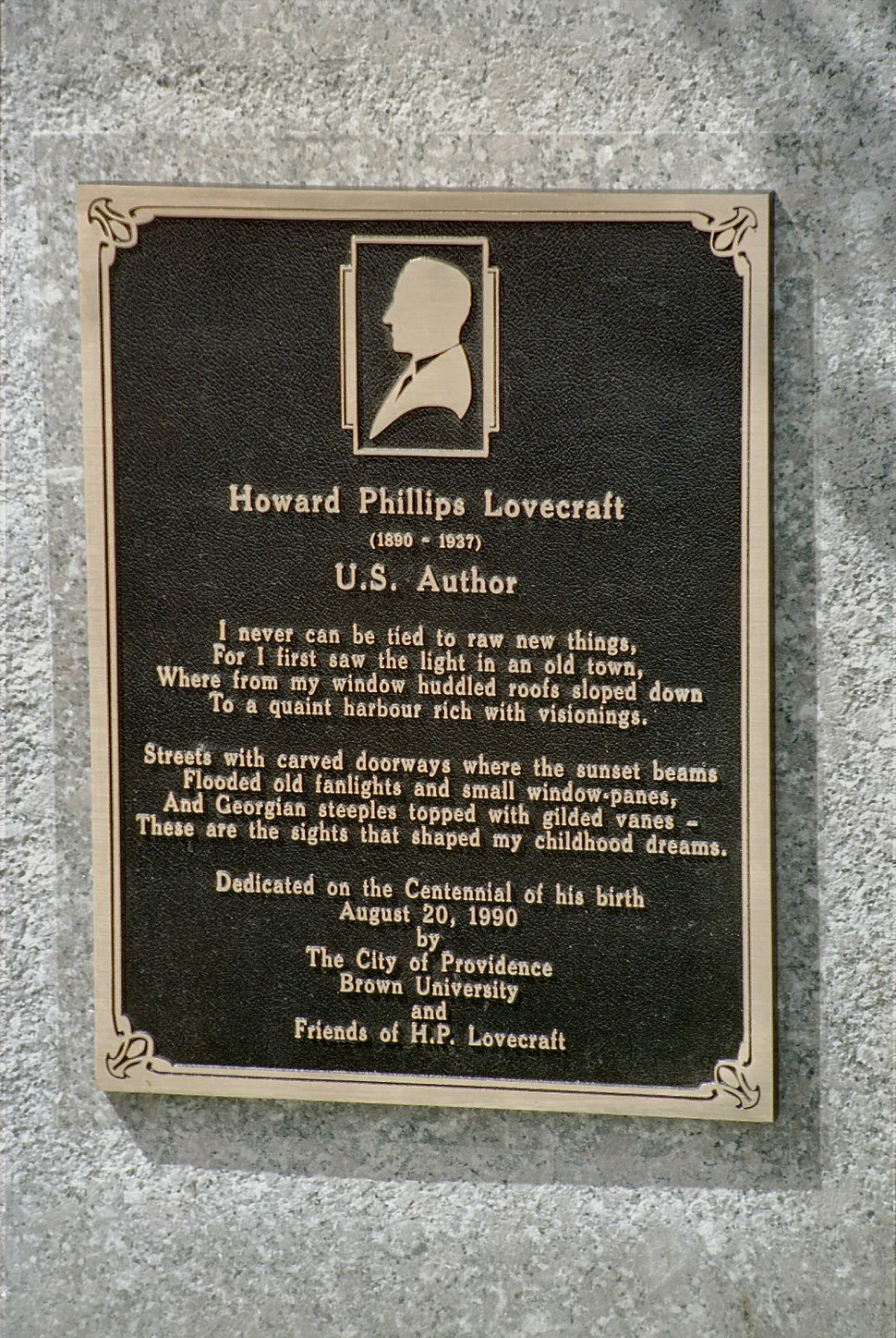 H. P. Lovecraft Memorial Plaque at 22 Prospect Street