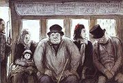 """Omnibus,"" crayon and watercolor drawing by Honoré Daumier, 1864."