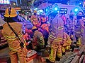 HK Cheung Sha Wan Night Cheung Wah Street Un Chau Street traffic accident Firefighters at work Nov-2013 02.JPG