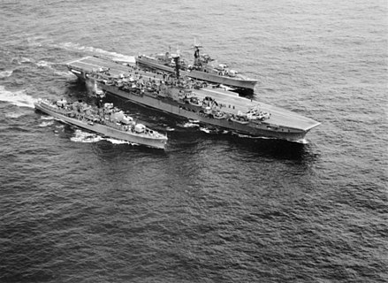 Voyager underway with sister ship HMAS Vendetta and the aircraft carrier HMAS Melbourne in 1959 HMAS Melbourne (R21), HMAS Voyager (D04) and HMAS Vendetta (D08) underway, circa in 1959 (AWM 301014).jpg
