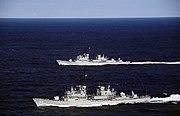 HMAS Perth (D38) and HMAS Brisbane (D41)