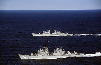 Perth-class destroyer - Perth and Brisbane in 1995