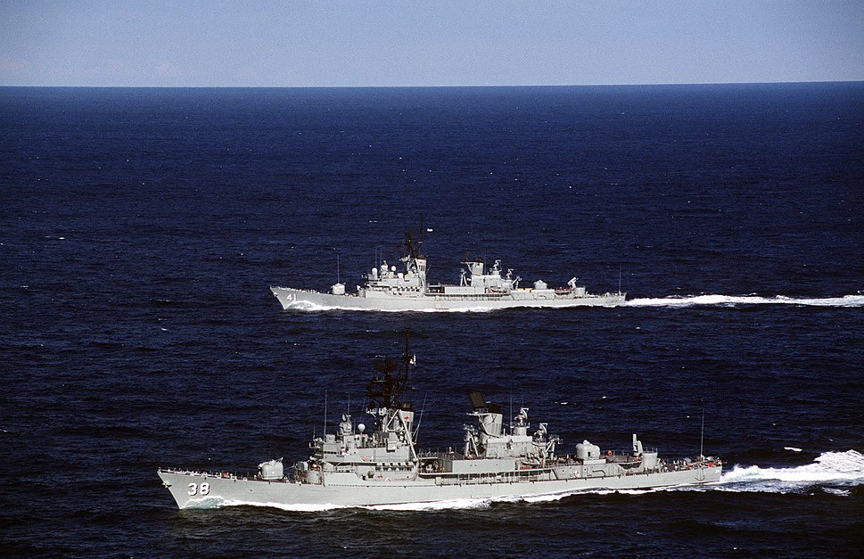 HMAS Perth (D38) and HMAS Brisbane (D41)