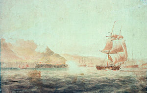 Childers Incident - French batteries firing at Childers off Brest 1793; National Maritime Museum